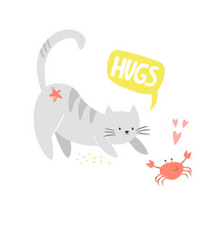 funny cat and crab friends friendship concept vector image