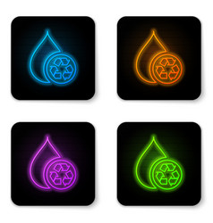 glowing neon recycle clean aqua icon isolated on vector image