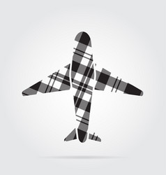 Grayscale tartan isolated icon - airliner vector