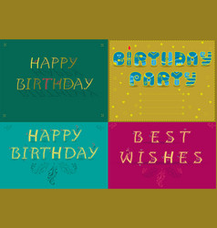 greeting cards with text happy birthday vector image