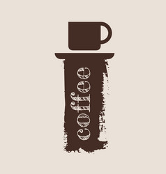 Grunge brush stroke with a cup of coffee vector