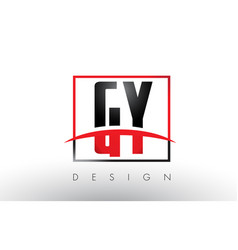 gy g y logo letters with red and black colors and vector image