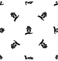 hand holding house pattern seamless black vector image