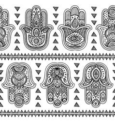 indian hand drawn hamsa seamless pattern vector image