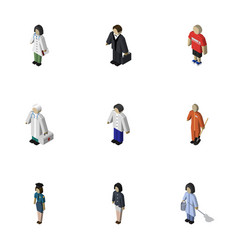 Isometric person set of doctor medic investor vector