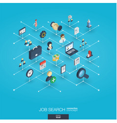 job search integrated 3d web icons digital vector image
