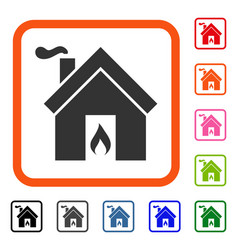 Kitchen fire framed icon vector