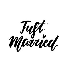 love lettering print just married vector image