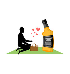 lover alcohol drink man and bottle of whiskey on vector image