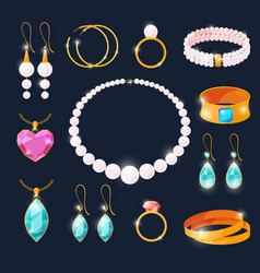 luxury jewels set rings with diamonds and other vector image