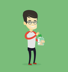 man putting dollar money into glass jar vector image