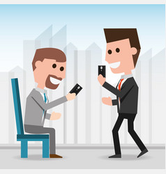 Men with smartphone communication lifestyle vector