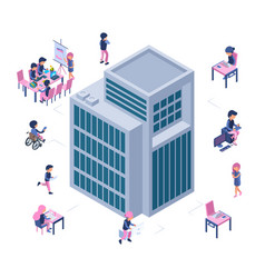Modern business office isometric building and vector