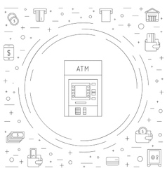 Money icon outline vector