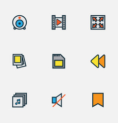 Multimedia icons colored line set with sd card vector