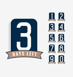 number days left label vector image