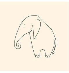 One line elephant vector