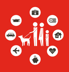 Parents and son with dog family protection vector