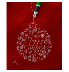 Pen line drawing christmas tree toy ball red vector