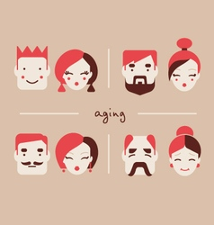 People in different ages icon collection vector