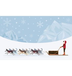 People with arctic dogs sledding iceberg vector