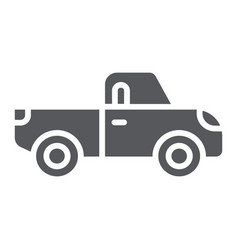pickup glyph icon transport and automobile truck vector image