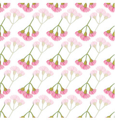 pink eucalyptus blossoms in rows seamless vector image