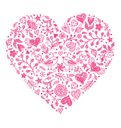 pink valentines heart vector image