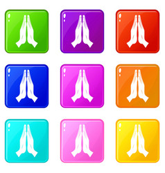 prayer icons 9 set vector image