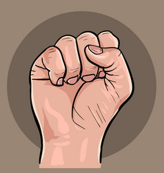 Raised hand with clenched fist vector