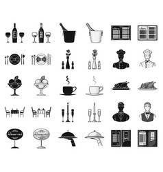 Restaurant and bar blackmonochrome icons in set vector