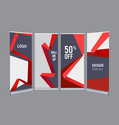 Roll up banners advertizing stand office mall vector