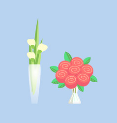 rose and tulip bouquets in vase with water set vector image