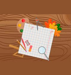 school supplies on wooden background vector image