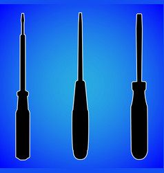 screwdriver silhouette isolated on blue background vector image