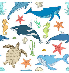 seamless pattern of cartoon sea animals vector image