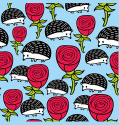 Seamless pattern with cute hedgehogs and red roses vector