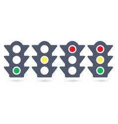 set of traffic lights flat signal icons semaphore vector image