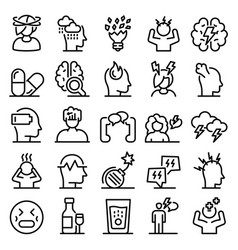 Stress icons set outline style vector