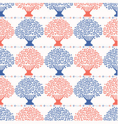 stylized flower basket seamless pattern vector image