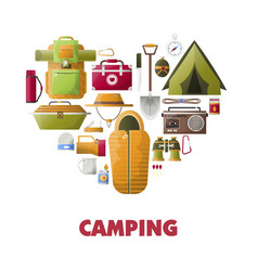 Summer camping poster of camp tools icons vector