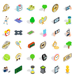 tennis ball icons set isometric style vector image