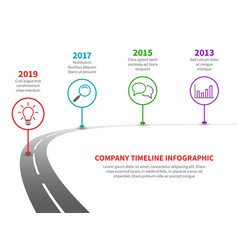 Timeline road infographic strategy process vector