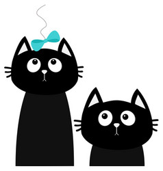 two black cat set looking up to bow friends vector image