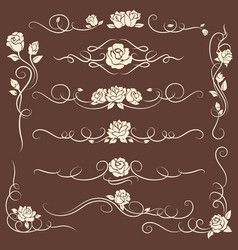 vintage flourish ornaments with roses vector image
