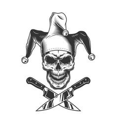 vintage monochrome evil jester skull vector image