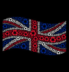Waving united kingdom flag mosaic of recycle vector