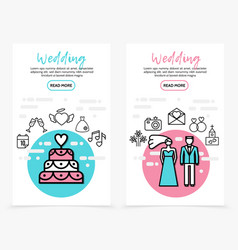 wedding line icons vertical banners vector image