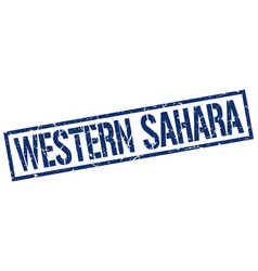 Western sahara blue square stamp vector