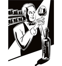 Young sommelier vector